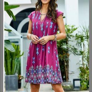 Reborn collection paisley magenta cap sleeve dress